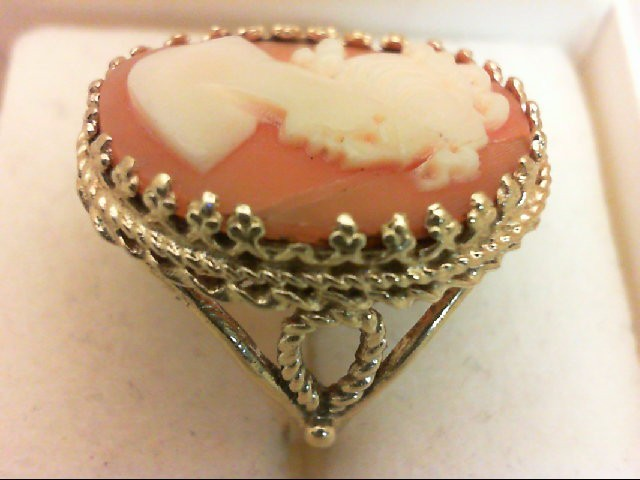 Cameo Lady's Stone Ring 14K Yellow Gold 5g