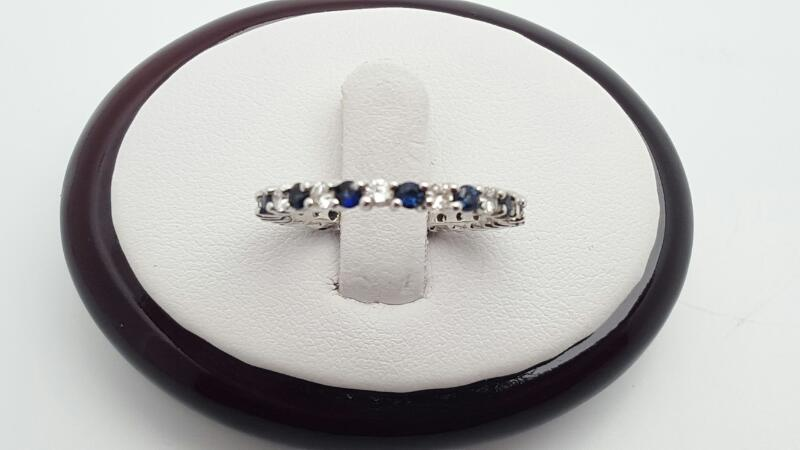 Lady's sapphires & Diamonds Ring 14 Diamonds .59 Carat T.W. 14K White Gold 2