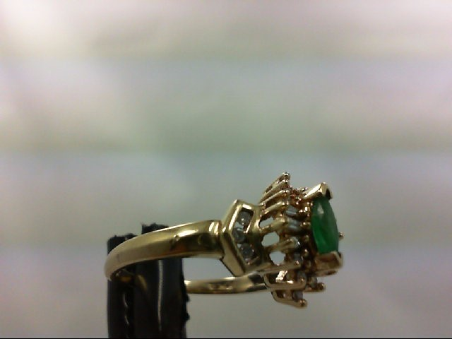 Emerald Lady's Stone & Diamond Ring 22 Diamonds 0.4 Carat T.W. 10K Yellow Gold 3