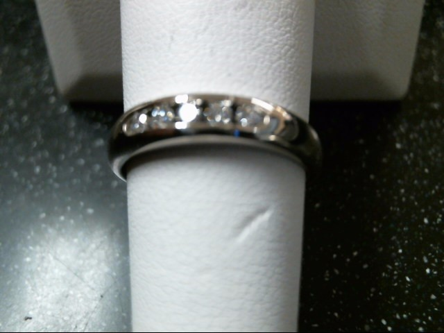 Gent's Gold-Diamond Wedding Band 5 Diamonds .15 Carat T.W. 18K White Gold 4.1g