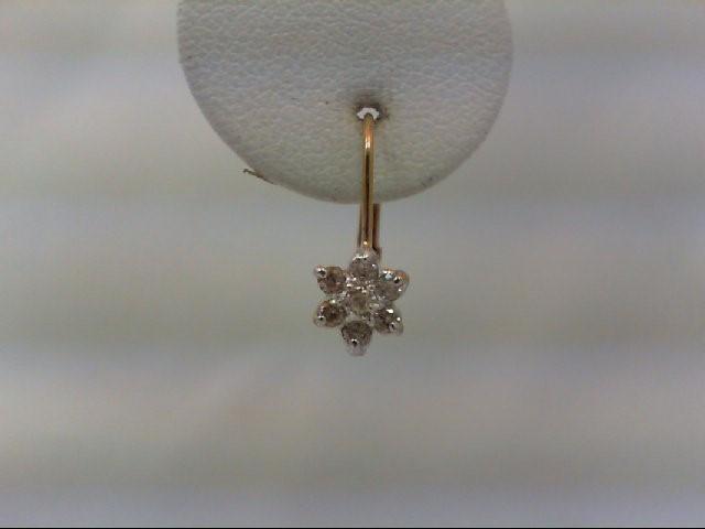 Gold-Diamond Earrings 14 Diamonds .26 Carat T.W. 10K Yellow Gold 1g