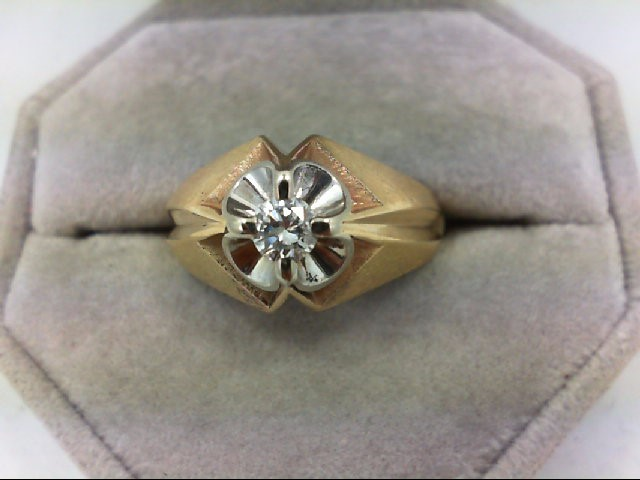 Gent's Diamond Solitaire Ring 0.33 CT. 14K Yellow Gold 7.1g Size:10.5