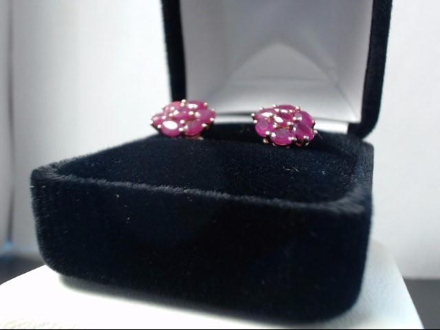 Ruby Gold-Stone Earrings 10K Yellow Gold 2g