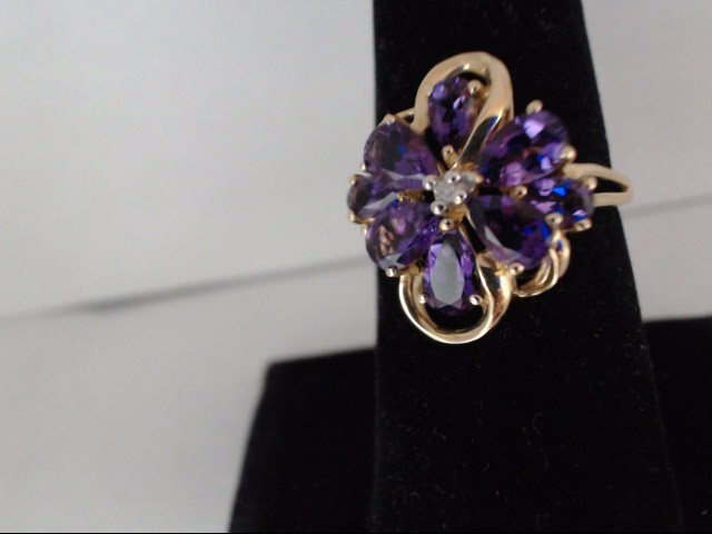 Amethyst Lady's Stone Ring 14K Yellow Gold 3.53g Size:8