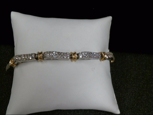 Gold-Diamond Bracelet 162 Diamonds 3.24 Carat T.W. 14K 2 Tone Gold 16.9g