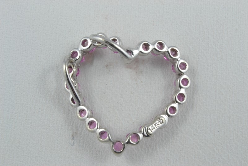ESTATE OPEN HEART PENDANT CHARM PINK ICE 14K SOLID WHITE GOLD LOVE