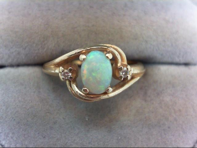 Opal Lady's Stone & Diamond Ring 2 Diamonds .04 Carat T.W. 10K Yellow Gold 3.4g