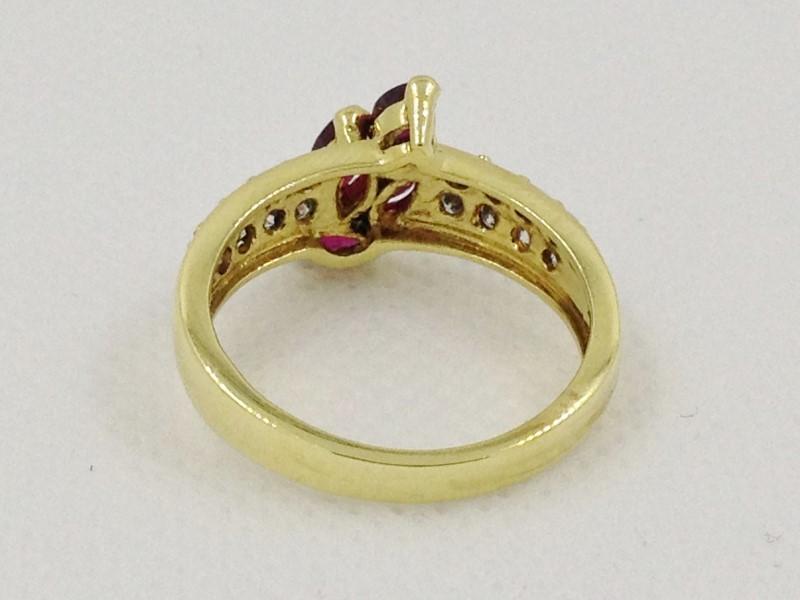 Ruby & Diamond Ring 16 Diamonds .80 Carat T.W. 18K Yellow Gold