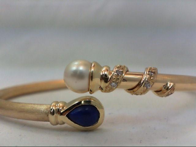 Pearl Gold-Diamond & Stone Bracelet 14 Diamonds .14 Carat T.W. 14K Yellow Gold