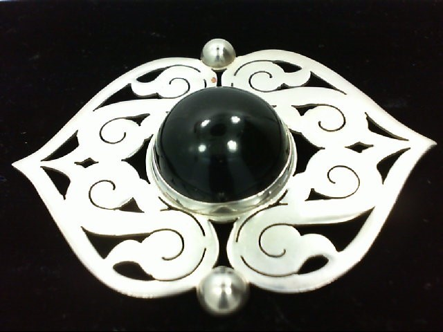 Onyx Silver-Stone Brooch 925 Silver 29.1g