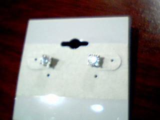 Gold-Diamond Earrings 2 Diamonds .40 Carat T.W. 10K White Gold 1.1g