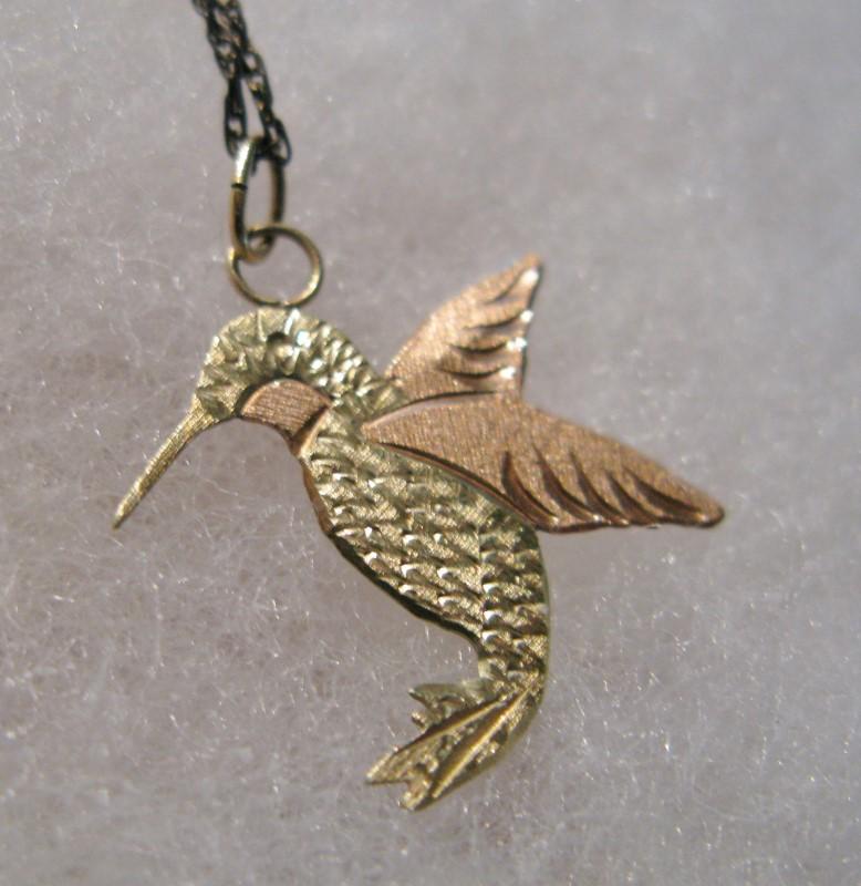 Coleman Black Hills Gold Hummingbird Pendant 10K Tri-color Gold 1dwt