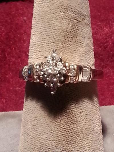 Lady's Diamond Fashion Ring 22 Diamonds .66 Carat T.W. 10K 2 Tone Gold 2.8dwt