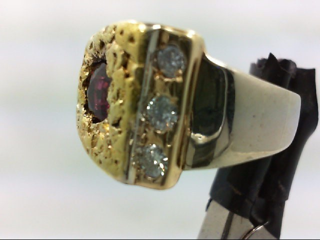 Ruby Gent's Stone & Diamond Ring 3 Diamonds .30 Carat T.W. 14K White Gold