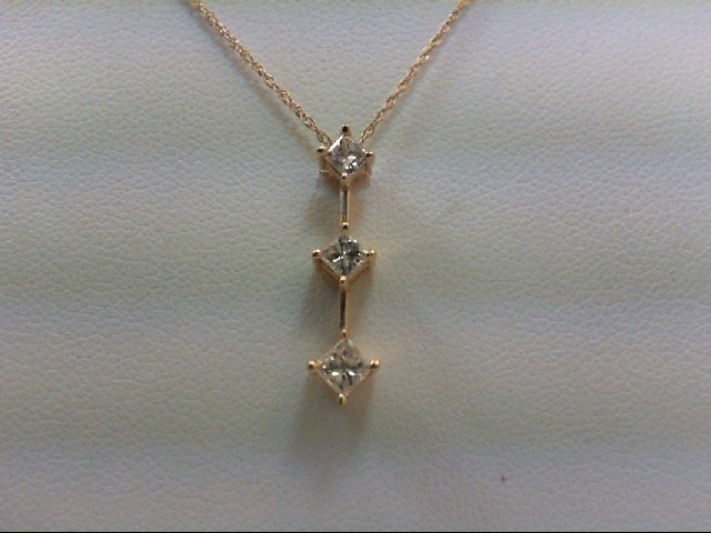 Gold-Multi-Diamond Pendant 3 Diamonds .54 Carat T.W. 14K Yellow Gold 1.8g
