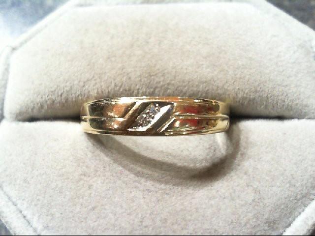 Gent's Gold-Diamond Wedding Band 2 Diamonds .02 Carat T.W. 14K Yellow Gold 3g