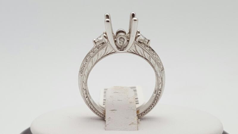 Lady's Diamond Engagement Ring 26 Diamonds .48 Carat T.W. 18K White Gold 6.1g