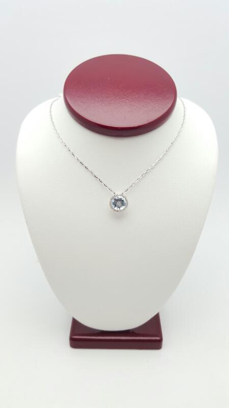 Aquamarine Gold-Diamond Pendant 23 Diamonds .12 Carat T.W.