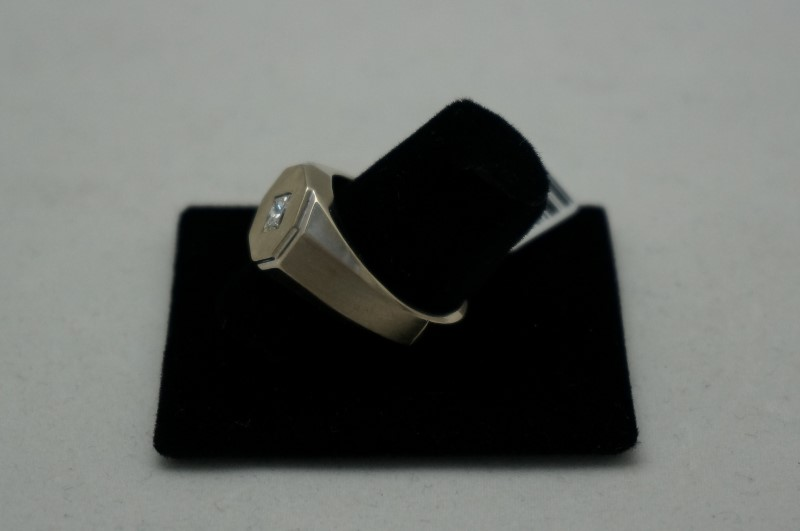 Gent's Diamond Solitaire Ring .50 CT. 14K White Gold 5.2dwt