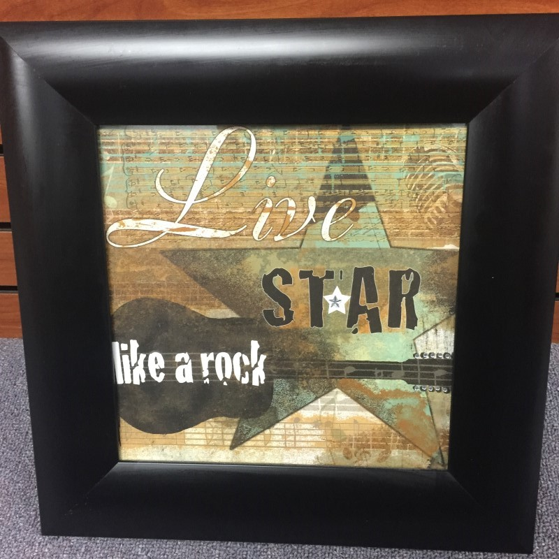 "LIVE LIKE A ROCK STAR WALL ART FRAMED 14.5"" X 14.5"" WITH RHINESTONE ACCENTS"