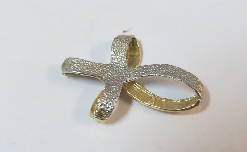 Cross Ribbon Gold Pendant 14K 2 Tone Gold 1dwt
