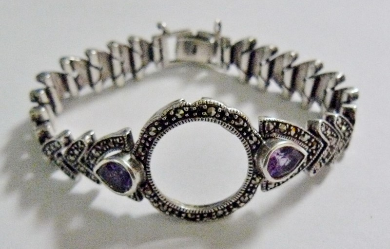 STERLING SILVER ANTIQUED AMETHYST & MARCASITE WATCH BAND & CASE COVER