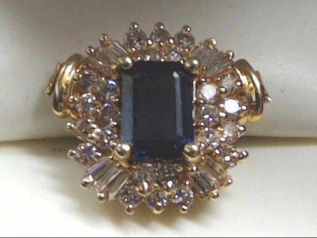 Blue Stone Gold-Diamond & Stone Pendant 32 Diamonds .96 Carat T.W.