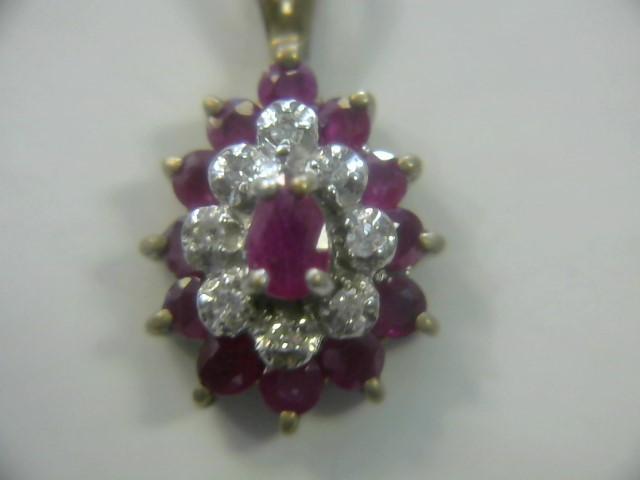 Red Stone Gold-Diamond & Stone Pendant 8 Diamonds .08 Carat T.W.