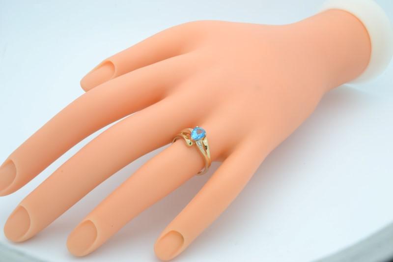 ESTATE BLUE TOPAZ DIAMOND RING SOLID 10K GOLD PEAR CUT DROP SIZE 7