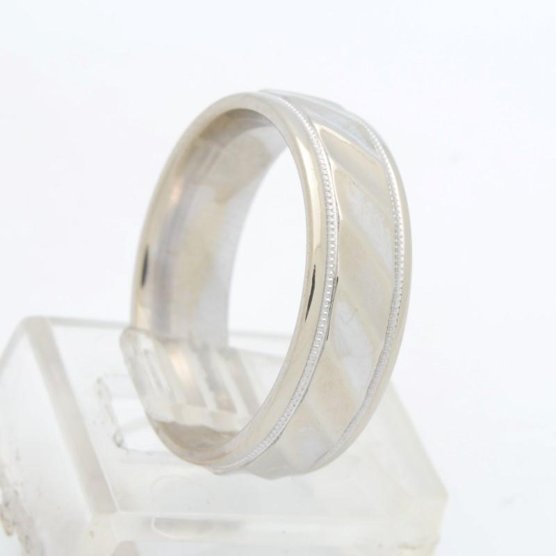 ESTATE WEDDING RING BAND SOLID 14K WHITE GOLD UNISEX DESIGN SIZE 7