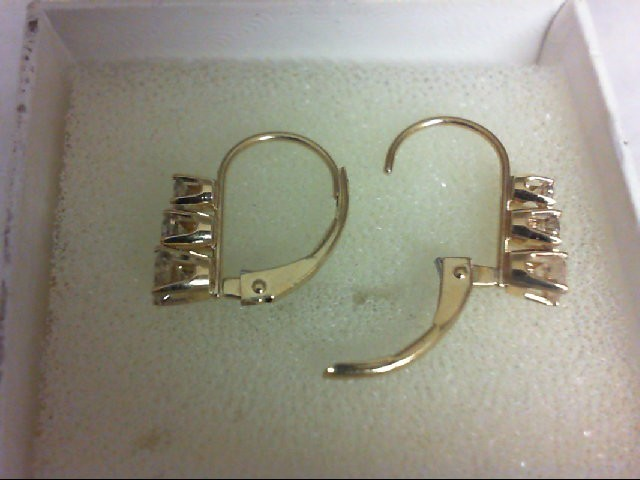 Gold-Diamond Earrings 6 Diamonds 0.46 Carat T.W. 14K Yellow Gold 1.2g