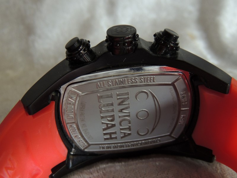 Invicta Lupah Chronograph Black Ion-Plated Red Rubber Watch 6728 Men's EUC!