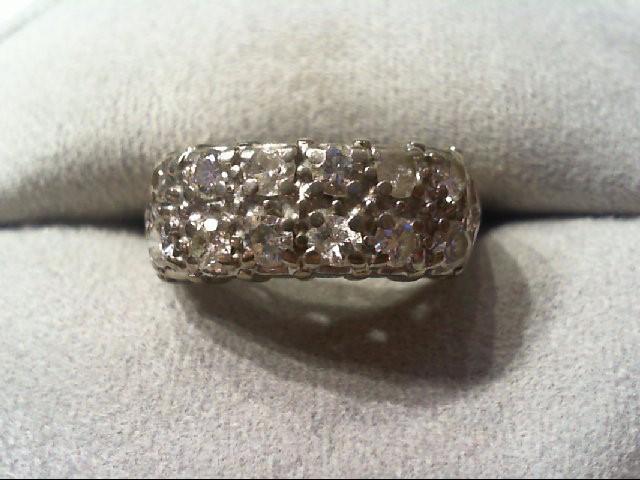 Lady's Diamond Wedding Band 12 Diamonds .84 Carat T.W. 14K White Gold 4.3g