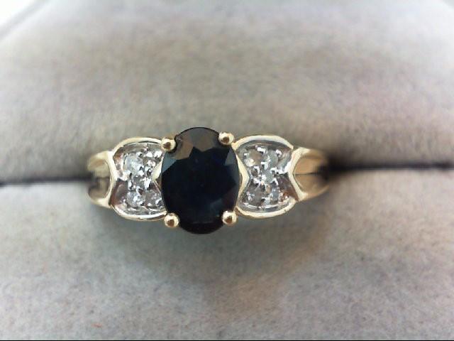 Sapphire Lady's Stone & Diamond Ring 10 Diamonds .10 Carat T.W. 14K Yellow Gold
