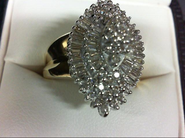 Lady's Diamond Cluster Ring 77 Diamonds 0.77 Carat T.W. 10K Yellow Gold 7.7g