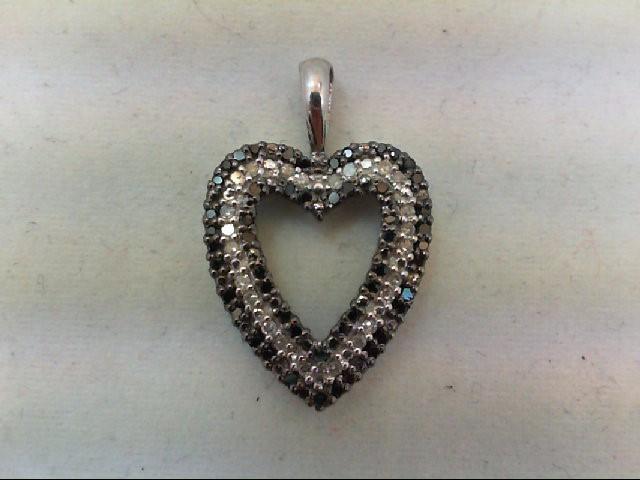 Gold-Multi-Diamond Pendant 24 Diamonds 0.24 Carat T.W. 10K White Gold 1.9g
