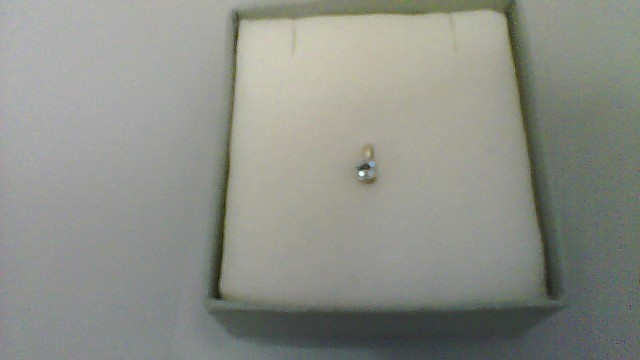 Synthetic Blue Topaz Gold-Stone Pendant 10K White Gold 0.15g