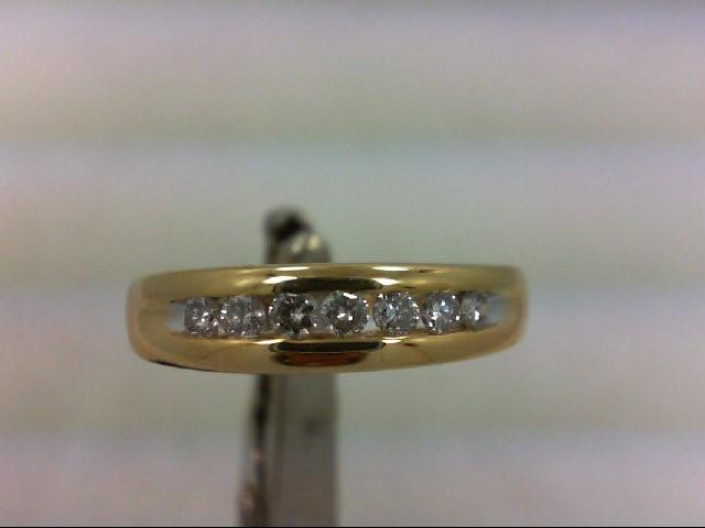 Gent's Gold-Diamond Wedding Band 7 Diamonds .21 Carat T.W. 14K Yellow Gold 3.9g
