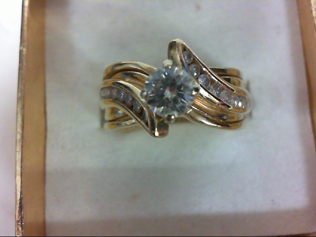 Lady's Diamond Wedding Set 17 Diamonds 0.66 Carat T.W. 14K Yellow Gold 7.3g