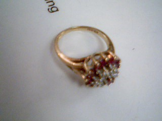 Ruby Lady's Stone & Diamond Ring 6 Diamonds .30 Carat T.W. 10K Yellow Gold 3.2g