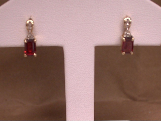 Synthetic Almandite Garnet Gold-Diamond & Stone Earrings