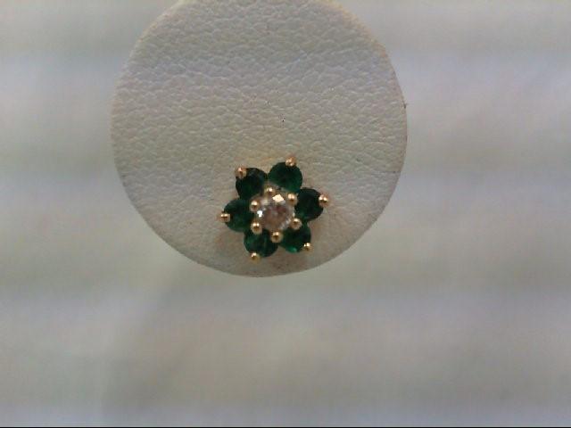 Emerald Gold-Diamond & Stone Earrings 2 Diamonds .20 Carat T.W. 14K Yellow Gold