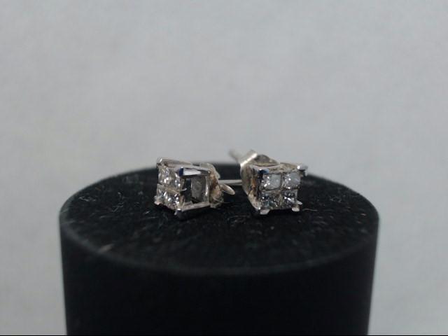 Gold-Diamond Earrings 8 Diamonds .40 Carat T.W. 14K White Gold 0.73g