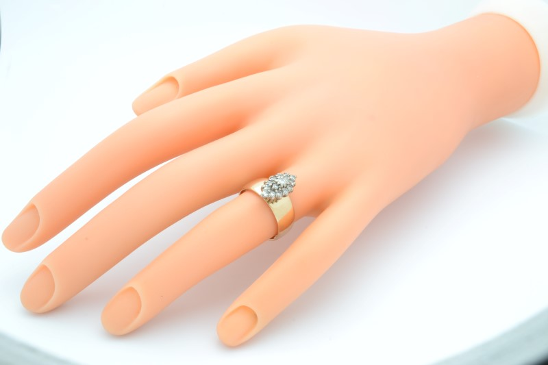 ESTATE DIAMOND CLUSTER RING SOLID 14K GOLD MARQUISE HEAVY 5.3g  SZ 6