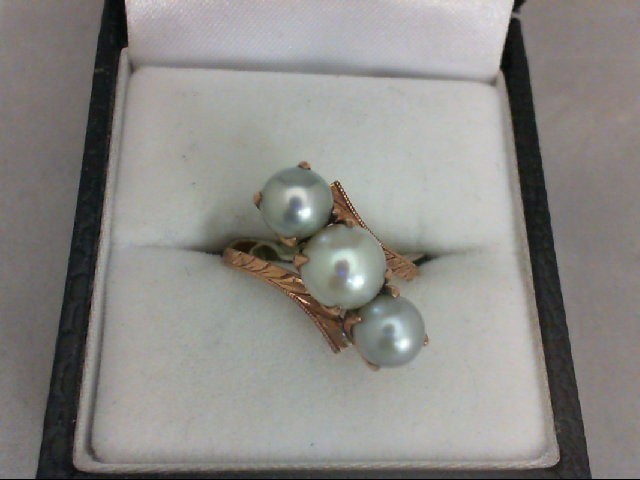 Pearl Lady's Stone Ring 14K Rose Gold 3g