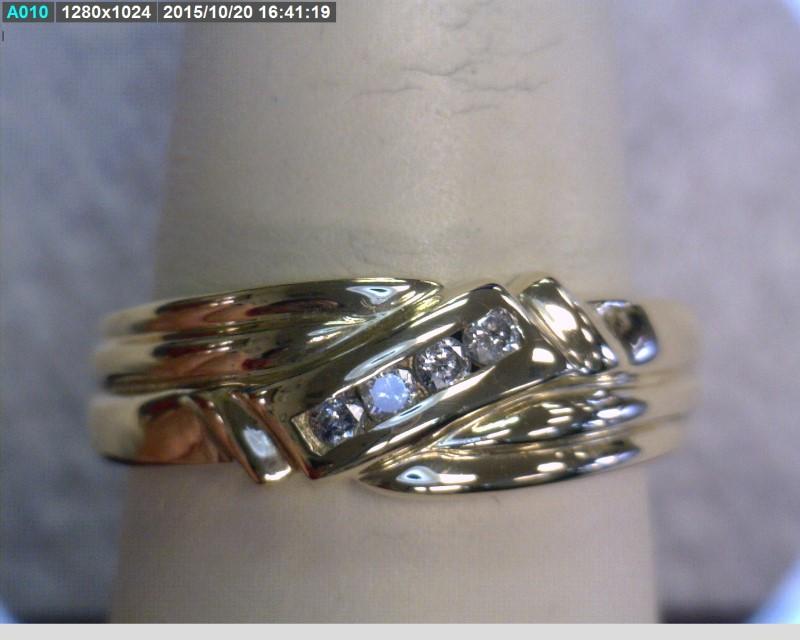 Gent's Diamond Fashion Ring 4 Diamonds .04 Carat T.W. 10K Yellow Gold 2.2dwt