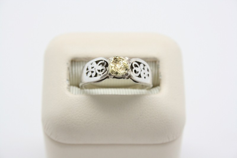 SILVER RING WITH 24K YELLOW GOLD NUGGET'S