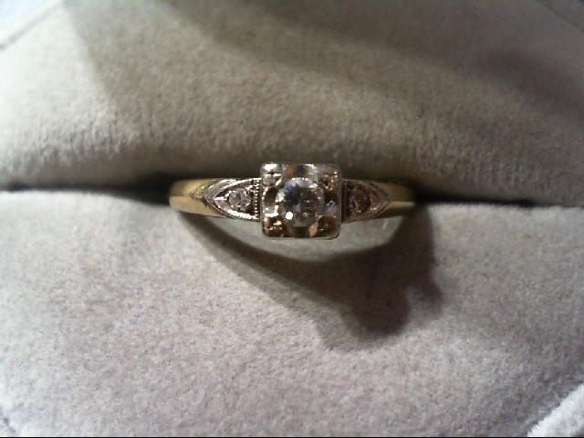 Lady's Diamond Engagement Ring 3 Diamonds .16 Carat T.W. 14K 2 Tone Gold 2.3g