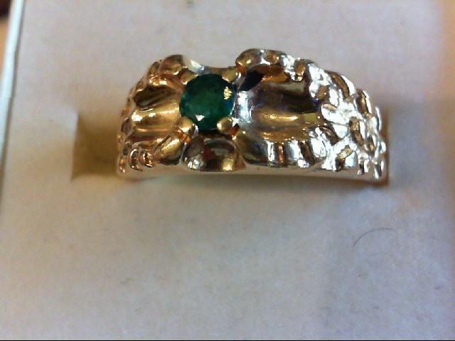 Emerald Gent's Stone Ring 14K Yellow Gold 7.6g