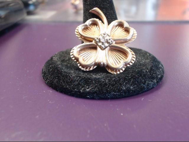 Gold-Diamond Brooch .03 CT. 10K Yellow Gold 5.5g